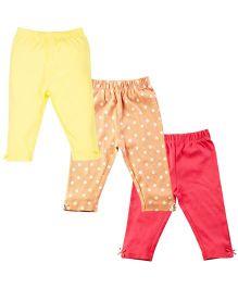 Infant Girls Legging Pack Of 3 - Yellow Orange Red