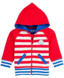 M&M Striped Sweatshirt With Hood - Red