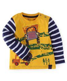 M&M Full Sleeves Printed T-Shirt - Yellow Navy