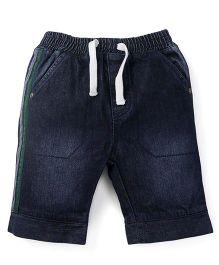 Babyoye Denim Shorts With Drawstring - Dark Blue