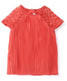 M&M Short Sleeves Top Pleated Pattern - Coral