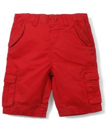 Babyoye Solid Color Shorts With Pockets - Red