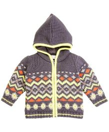 M&M Infant Full Sleeves Front Zipper Sweater With Hood - Multi Color