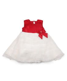 M&M Sleeveless Flared Frock With Bow Applique - Red & White