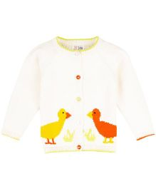 M&M Full Sleeves Sweater With Duckling Knit - Off White