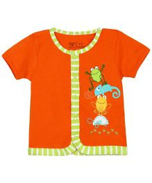 M&M Infant Front Open Half Sleeves Jhabla - Orange
