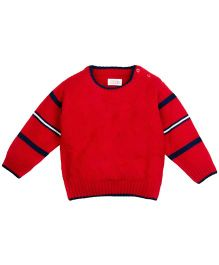 M&M Round Neck Sweater With Striped Sleeves - Red