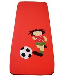 Kadambaby Cotton Bedspread  Football Print - Red