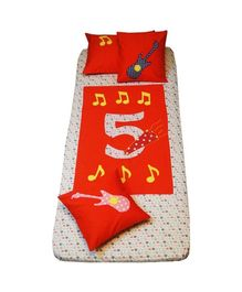 Kadambaby Cotton Bedspread Musical Five - Red