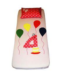 Kadambaby Birthday Theme Bedsheet Number 4 Applique - Cream