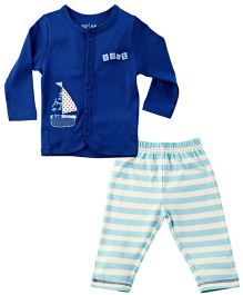 M&M Infant Full Sleeves Night Wear Suit - Navy