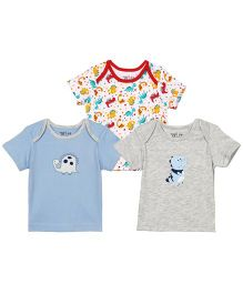 Babyoye Infant Envelope Neck Pack Of 3 T-Shirts - Blue White Grey