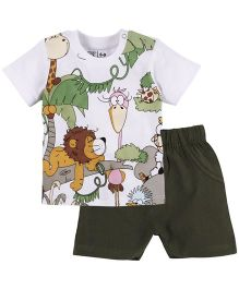 M&M Infant Animal Printed T-Shirt And Shorts Set - Multi Color