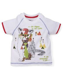 Babyoye Cub Printed Short Sleeves Tee - White