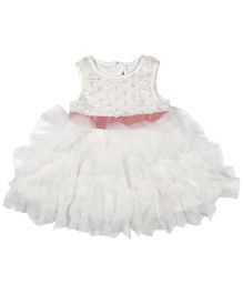 Babyoye Sleeveless Dress Frilled Pattern - White