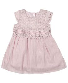 Babyoye Short Sleeves Dress With Lace Details - Light Pink