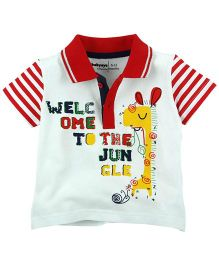 Babyoye Welcome To The Jungle Printed Short Sleeves Polo - Red and White