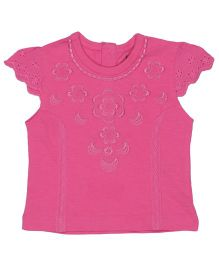 Babyoye Hakoba Cap Sleeves Top With Embroidery - Pink