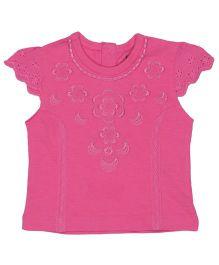 Babyoye Hakoba Cap Sleeves Top With Embroidery - Pink