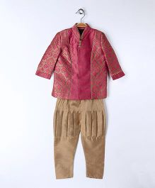 Babyoye Indo Western Kurta Pyjama Set - Brown And Beige