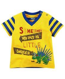 Babyoye Pet Printed V-Neck Tee - Blue and Yellow