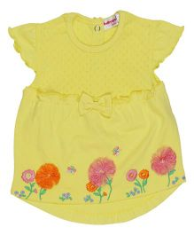 Babyoye Short Sleeves Top Floral Embroidery - Yellow