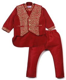 Babyoye Kurta Pajama And Jacket Set - Red