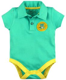 M&M Short Sleeves Collar Neck Onesies - Aqua Green