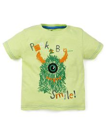 Babyoye Peek-a-Boo Printed Short Sleeves T-Shirt - Green