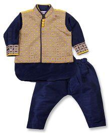 Babyoye Kurta Pajama And Jacket Set - Beige And Navy Blue (26 CM)