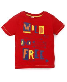 Babyoye Short Sleeves T-Shirt Wild And Free Print - Red