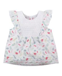 Babyoye Floral Printed Sleeveless Top With Frill Details - Multi Colour