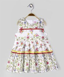 Babyoye Floral Printed Sleeveless Casual Dress - Multi Coloured