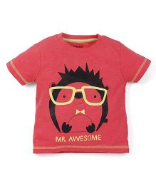 Babyoye Mr Awesome Printed Short Sleeves T-Shirt - Coral