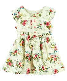 Babyoye Floral Printed Cap Sleeves Casual Dress - Multi Colour