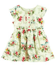 Babyoye Floral Printed Cap Sleeves Casual Dress - Multi Colour