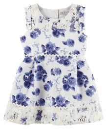 Babyoye Floral Printed Sleeveless Casual Dress - White Blue