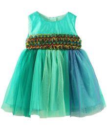 Babyoye Sleeveless Dress with Flower Embellishment - Green & Blue