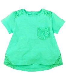 M&M Short Sleeves Top With Lace Net Details - Turquoise Blue