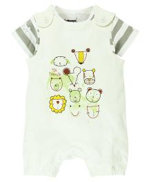 Babyoye My Friends Print Dungaree Style Romper With Tee - Multi Colour