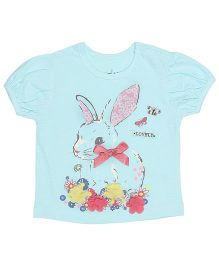Babyoye Short Sleeves Top With Bunny Print - Blue