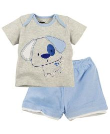 M&M Dog Print Half Sleeves Tee With Short - Grey Light Blue