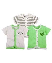 Babyoye Short Sleeves Front Open Tee Pack of 3 - Multi Colour