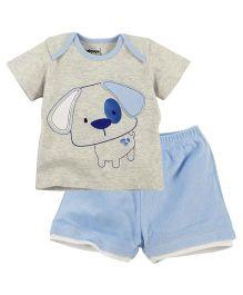 Babyoye Puppy Dog Print Half Sleeves Tee With Short - Grey Light Blue