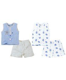 Babyoye Sleeveless Tee With shorts Pack Of 2 - Blue White