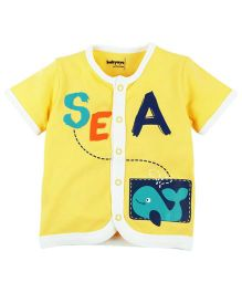 Babyoye Sea Print Front Open Vest - Yellow