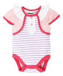 Babyoye Cap Sleeves Bodysuit With Front Frills - Pink And White