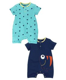 Babyoye Aquatic Theme Front Open Half Sleeves Romper Pack Of 2 - Turquoise Blue And Blue
