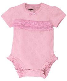 Solid Pattern Half Sleeves Frills Bodysuit - Pink (9-12 Months)