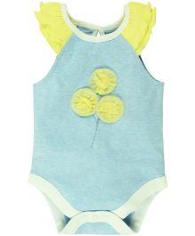 Babyoye Butterfly Sleeves Onesie - Blue Yellow